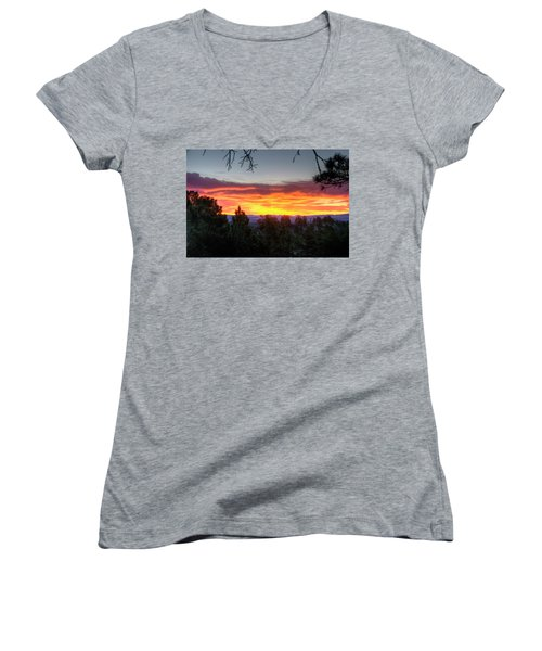 Women's V-Neck featuring the photograph Pine Sunrise by Fiskr Larsen