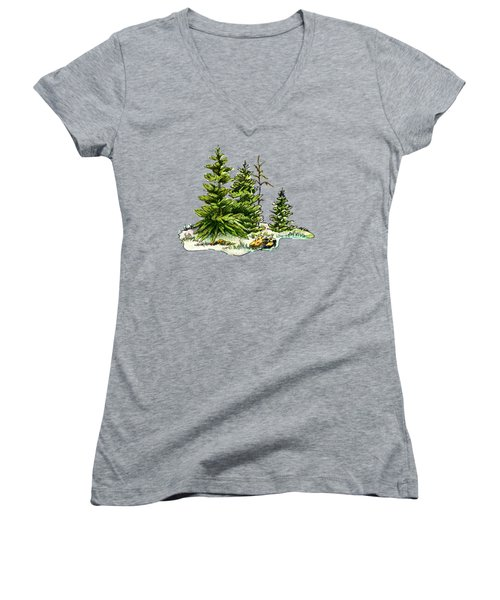 Pine Tree Watercolor Ink Image I         Women's V-Neck (Athletic Fit)