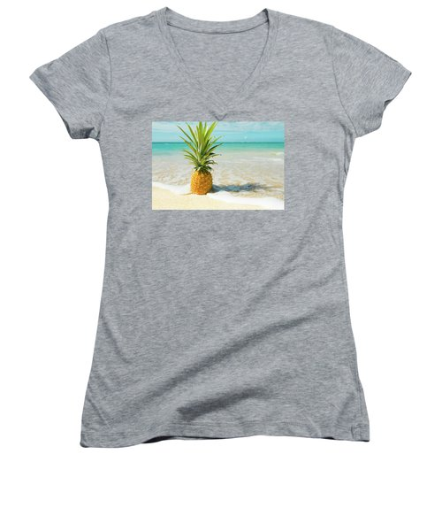 Women's V-Neck T-Shirt featuring the photograph Pineapple Beach by Sharon Mau