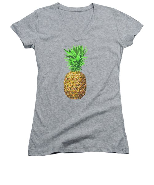 Pineapple, Tropical Fruit Women's V-Neck T-Shirt (Junior Cut) by Katerina Kirilova