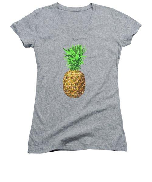 Pineapple, Tropical Fruit Women's V-Neck T-Shirt