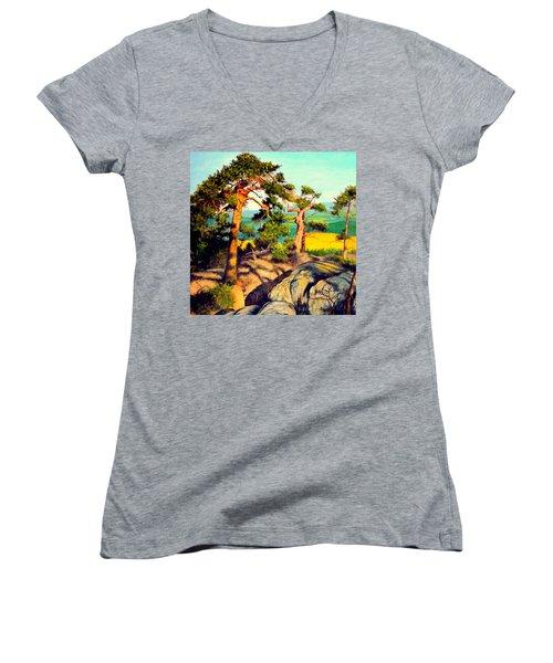 Pines On The Rocks Women's V-Neck T-Shirt