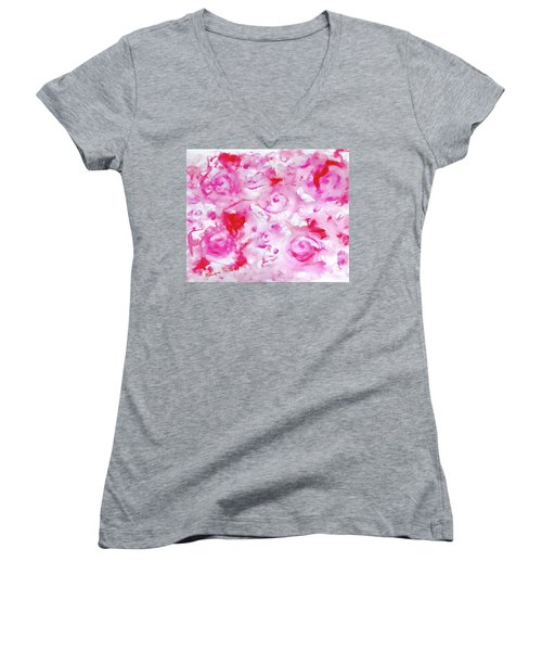 Pink Abstract Floral Women's V-Neck