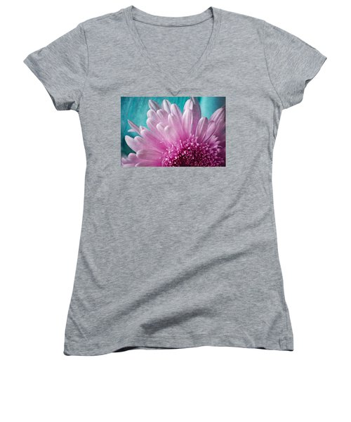 Women's V-Neck featuring the photograph Pink And Aqua by Dale Kincaid