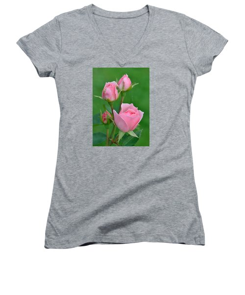 Pink And The Buds Women's V-Neck T-Shirt (Junior Cut) by Janet Rockburn