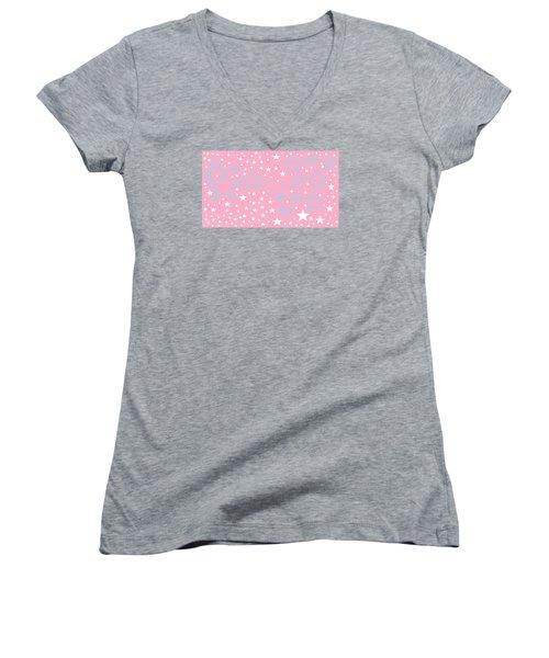 Pink And Turquoise Stars 1 Women's V-Neck T-Shirt (Junior Cut) by Linda Velasquez