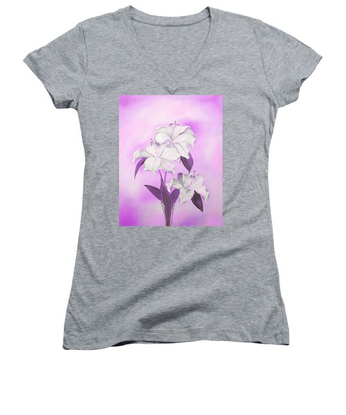 Women's V-Neck T-Shirt featuring the mixed media Pink And White by Elizabeth Lock