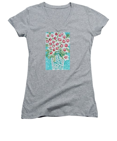 Pink And White Flowers Women's V-Neck T-Shirt (Junior Cut)