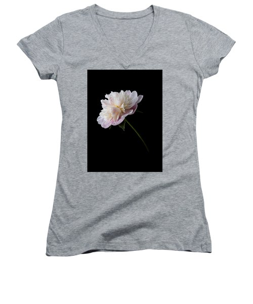 Pink And White Peony Women's V-Neck T-Shirt