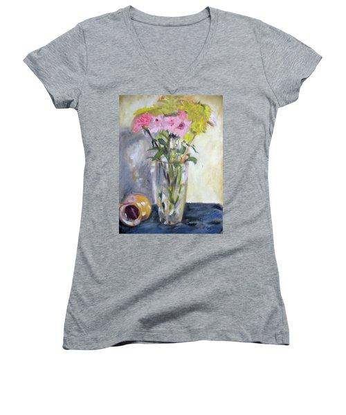Pink And Yellow Flowers Women's V-Neck