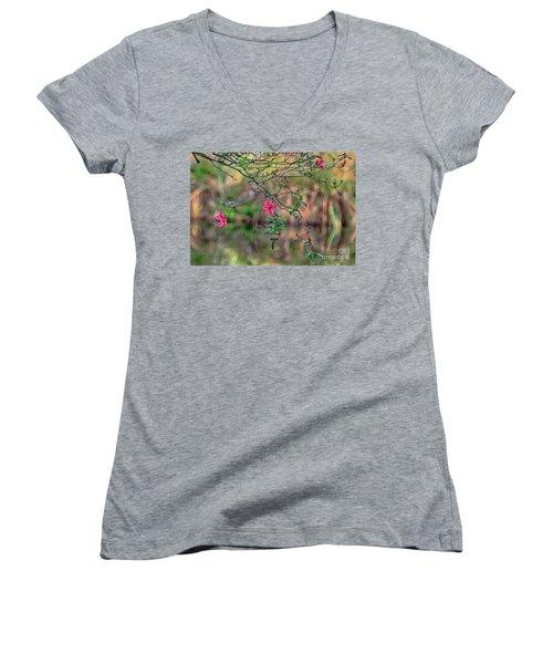 Women's V-Neck T-Shirt (Junior Cut) featuring the photograph Pink Azalea Dream by Deborah Benoit