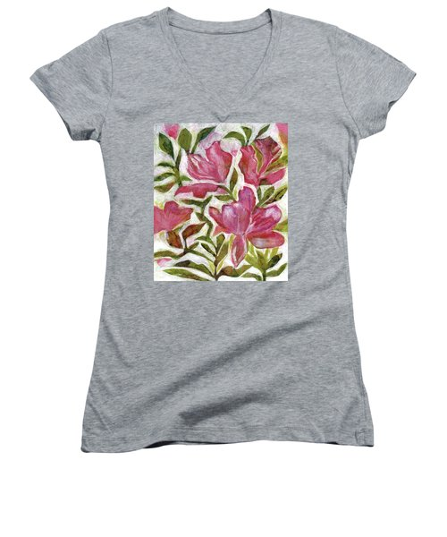 Pink Azaleas Women's V-Neck (Athletic Fit)