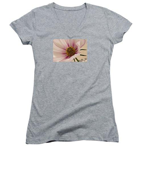 Pink Bi Color Cosmo Macro Women's V-Neck T-Shirt (Junior Cut) by Sandra Foster