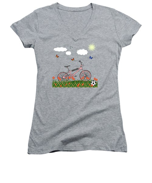 Pink Bicycle Women's V-Neck (Athletic Fit)