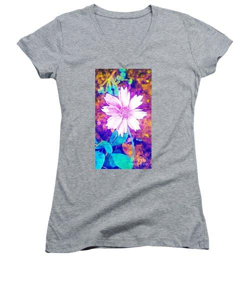 Pink Bloom Women's V-Neck T-Shirt (Junior Cut) by Rachel Hannah