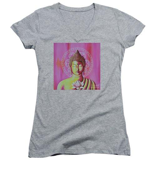 Pink Buddha Women's V-Neck T-Shirt (Junior Cut) by Joseph Sonday