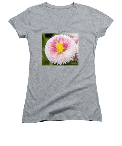 Pink Button Flower Women's V-Neck (Athletic Fit)