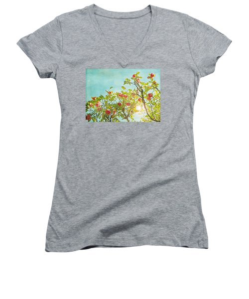 Pink Camellia Japonica Blossoms And Sun In Blue Sky Women's V-Neck T-Shirt (Junior Cut) by Brooke T Ryan