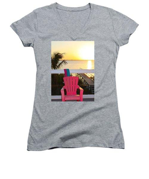 Pink Chair In The Keys Women's V-Neck