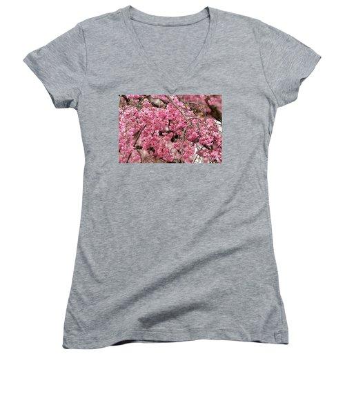 Pink Cherry Blossom Japan Arashayama Spring Holiday Diaries Women's V-Neck T-Shirt (Junior Cut)