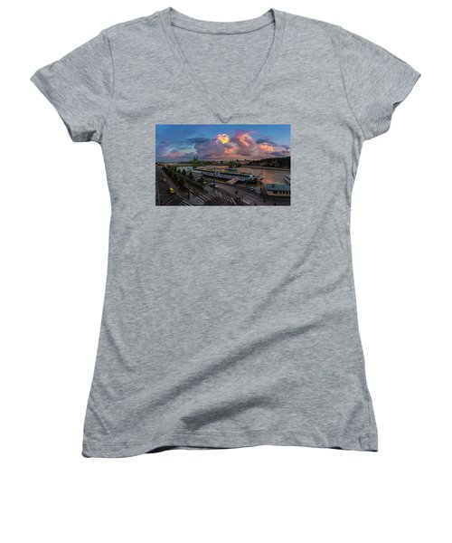 Pink Clouds Above The Danube, Budapest Women's V-Neck T-Shirt