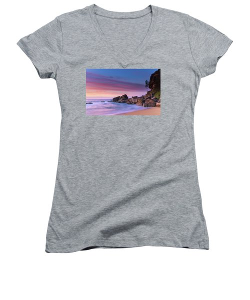 Pink Clouds And Rocky Headland Seascape Women's V-Neck