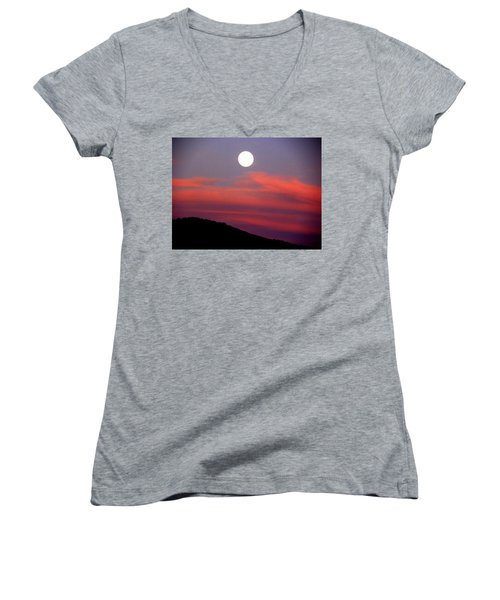 Pink Clouds With Moon Women's V-Neck T-Shirt (Junior Cut) by Joseph Frank Baraba