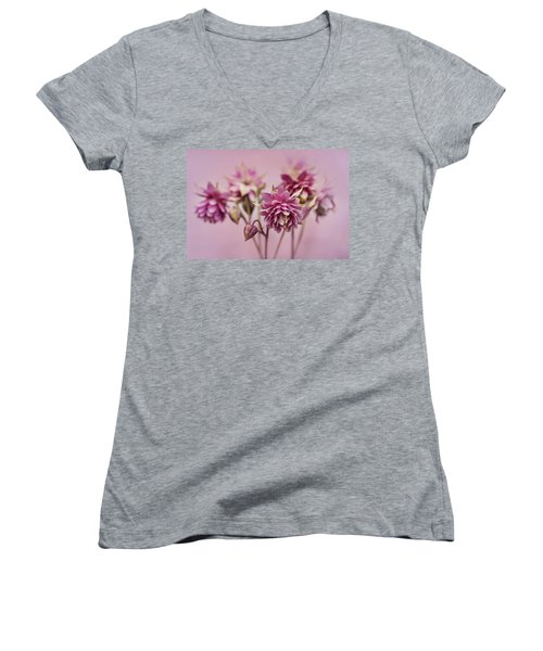 Pink Columbines Women's V-Neck (Athletic Fit)