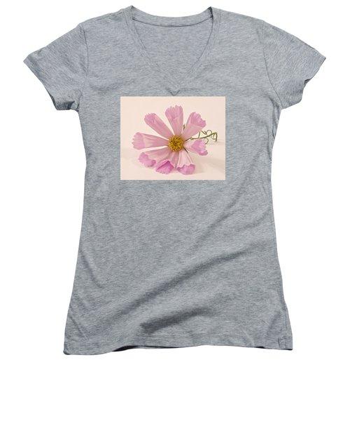 Pink Cosmo - Sea Shell Macro Women's V-Neck T-Shirt (Junior Cut) by Sandra Foster