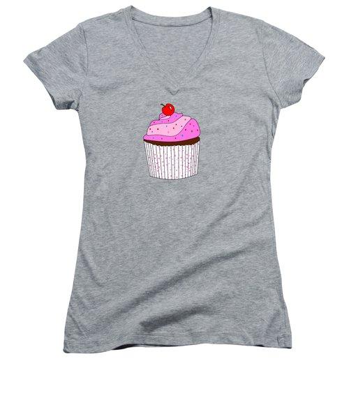 Pink Cupcake With Sprinkles - Food Illustration Women's V-Neck (Athletic Fit)