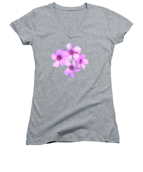 Women's V-Neck T-Shirt (Junior Cut) featuring the photograph Pink Cutout Flowers by Linda Phelps
