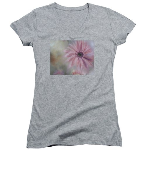 Women's V-Neck T-Shirt (Junior Cut) featuring the painting Pink Daisies by Donna Tuten