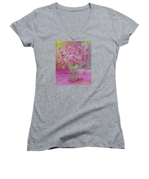 Pink Explosion Women's V-Neck T-Shirt