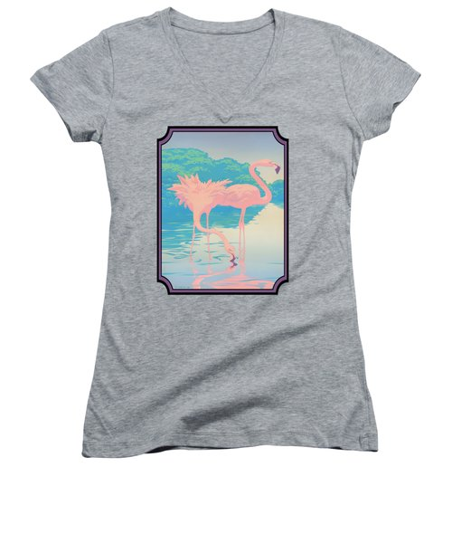 Pink Flamingos Abstract Retro Pop Art Nouveau Tropical Bird Art 80s 1980s Florida Decor Women's V-Neck (Athletic Fit)