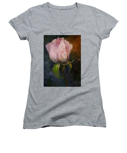 Pink Floral Bud Women's V-Neck T-Shirt (Junior Cut) by Michele Carter