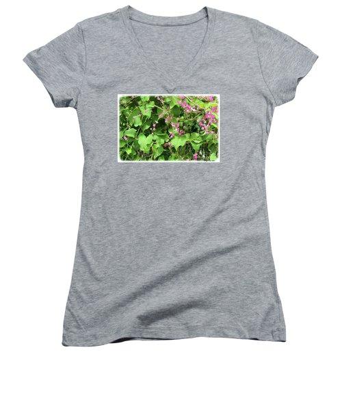 Women's V-Neck T-Shirt featuring the photograph Pink Flowering Vine1 by Megan Dirsa-DuBois