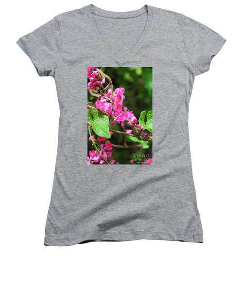 Women's V-Neck T-Shirt featuring the photograph Pink Flowering Vine3 by Megan Dirsa-DuBois