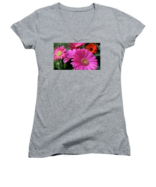 Women's V-Neck T-Shirt (Junior Cut) featuring the photograph Pink Flowers by Brian Jones