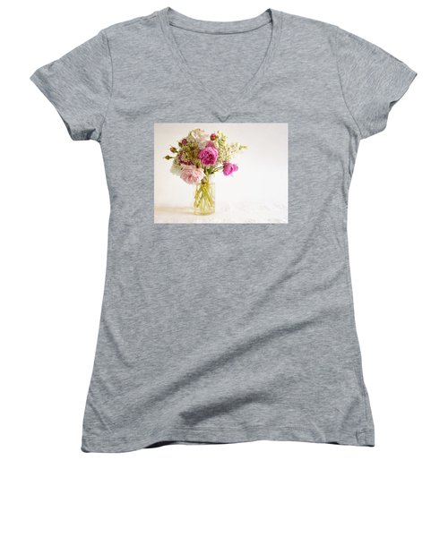 Pink Flowers Women's V-Neck (Athletic Fit)