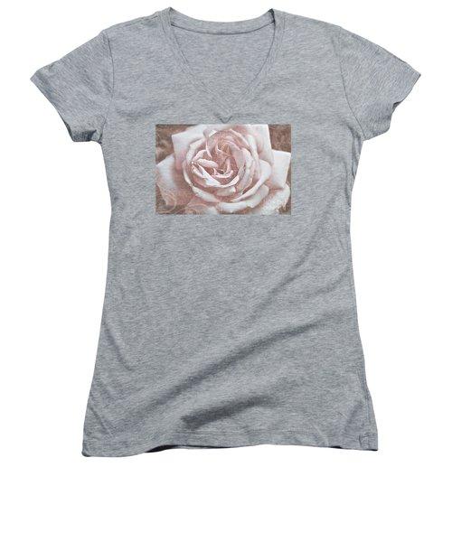 Pink Garden Rose Women's V-Neck