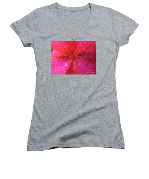 Pink Geranium Women's V-Neck T-Shirt