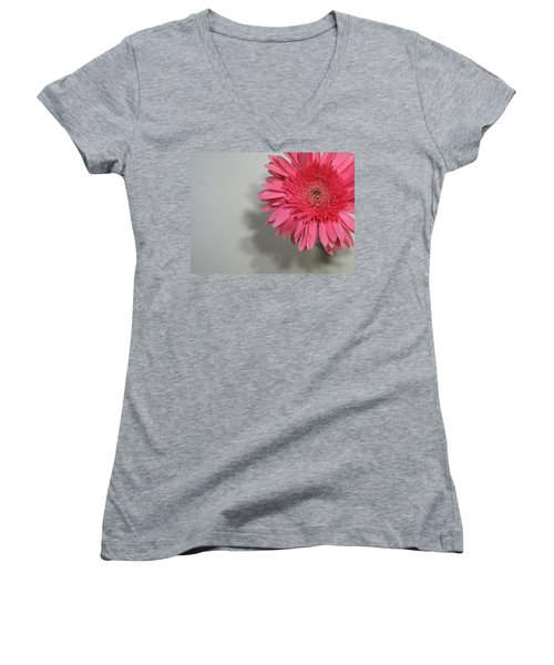 Women's V-Neck T-Shirt (Junior Cut) featuring the painting Pink Gerbera by Marna Edwards Flavell