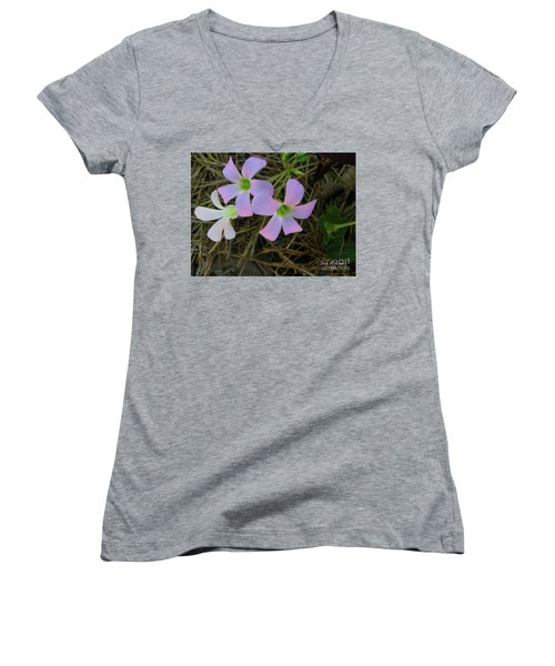 Women's V-Neck T-Shirt (Junior Cut) featuring the photograph Pink Glow by Donna Brown