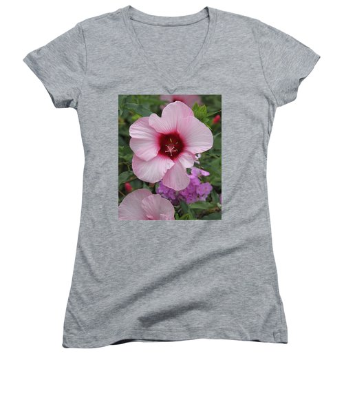 Pink Hibiscus Women's V-Neck T-Shirt