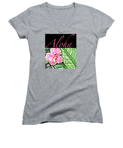 Pink Hibiscus Aloha Women's V-Neck (Athletic Fit)