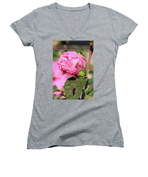 Pink Hibiscus Bud Women's V-Neck T-Shirt (Junior Cut) by Inspirational Photo Creations Audrey Woods