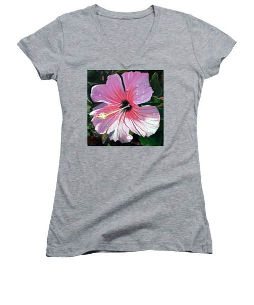 Pink Hibiscus With Raindrops Women's V-Neck T-Shirt (Junior Cut) by Marionette Taboniar