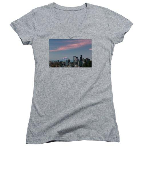 Women's V-Neck T-Shirt (Junior Cut) featuring the photograph Pink Highlights Over Seattle-mt. Rainier by E Faithe Lester