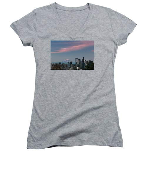 Pink Highlights Over Seattle-mt. Rainier Women's V-Neck T-Shirt