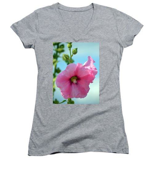 Pink Holyhock. Women's V-Neck (Athletic Fit)